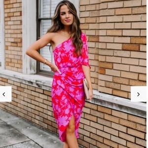 Beautiful floral one shoulder dress!